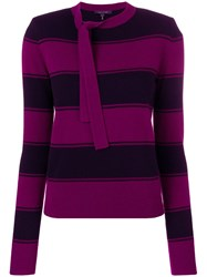 Marc Jacobs Striped Tie Neck Sweater Pink And Purple