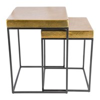 Amara Cube Side Tables Set Of 2 Antique Brass