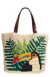Nordstrom Toucan Packable Woven Raffia Tote Brown Natural