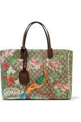 Gucci Leather Trimmed Printed Coated Canvas Tote Beige