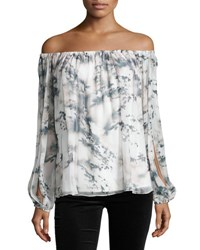 Haute Hippie Flowers In The Sun Off The Shoulder Printed Silk Blouse Pink Fairy