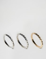 Asos Pyramid Spike Ring Pack Multi