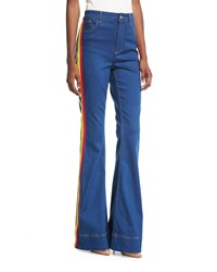 Alice Olivia Kayleigh Bell Bottom Jeans With Side Rainbow Stripes Blue Pattern