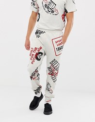 Billionaire Boys Club Vintage All Over Graphic Print Joggers In Grey