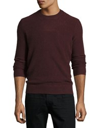Vince Boiled Cashmere Crewneck Sweater Wine