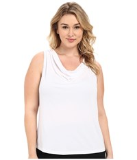 Calvin Klein Plus Plus Size Cowl Neck Tank Top White Women's Sleeveless