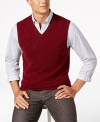 Club Room Men's V Neck Cashmere Sweater Vest Created For Macy's Cabernet Heather