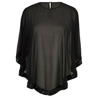 Chesca Ring Sequin Trim Top Black