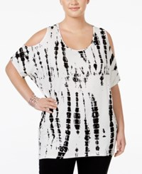Ing Plus Size Cold Shoulder Tie Dyed Top White Black