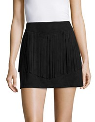 Bb Dakota Fringe Trimmed Faux Suede Mini Skirt Black