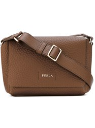Furla Foldover Adjustable Crossbody Bag Women Leather One Size Brown