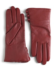 Lord And Taylor Rabbit Fur Lined Cuff Leather Gloves Cherry
