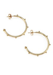 Temple St. Clair 18K Yellow Gold Granulated Hoop Earrings 1.25