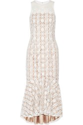 Mikael Aghal Pleated Embroidered Tulle Midi Dress White
