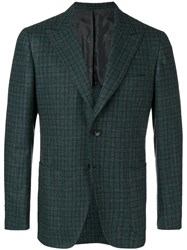 Kiton Check Suit Jacket Green