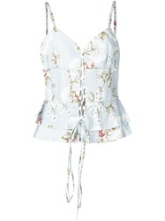 Brock Collection Printed Ruffled Top Blue