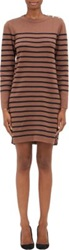 Armor Lux Button Shoulder Raye Dress Brown