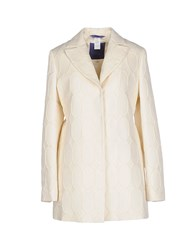 Blue Les Copains Coats And Jackets Full Length Jackets Women Ivory