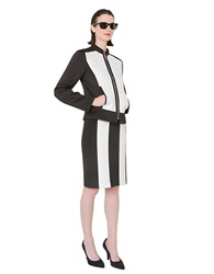 Isaac Mizrahi Color Block Zip Up Jacket Black White