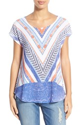 Women's Bobeau Chevron Print Short Sleeve Tee