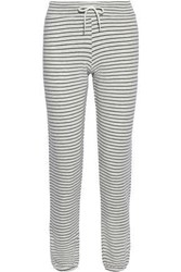 Monrow Woman Pinstriped French Terry Track Pants Black