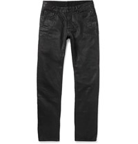 Rick Owens Detroit Slim Fit Coated Denim Jeans Black