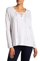 Sundry Long Sleeve Slub Lace Up Tee Gray