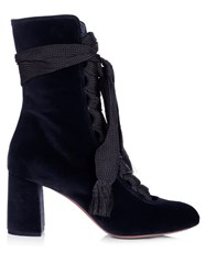 Chloe Harper Lace Up Velvet Ankle Boots Navy