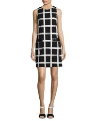 Eliza J Contrast Pocket Shift Dress Black White