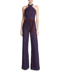 Alexis Rene Halter Neck Wide Leg Lace Jumpsuit Navy Embroidered