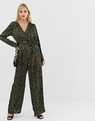 Liquorish Wrap Front Jumpsuit In Leopard Print With Tie Belt Multi