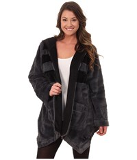 Dkny Between The Lines Hooded Fur Cozy Light Charcoal Women's Pajama Gray