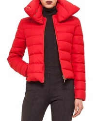 Akris Punto Hooded Stripe Quilted Short Puffer Coat Size 10 Red