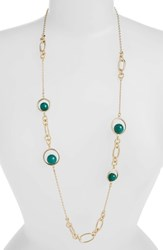 Halogen Stone Station Necklace Green Gold