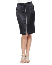 Atm Silk Pencil Skirt With Center Piping