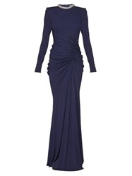 Alexander Mcqueen Crystal Embellished Gathered Gown Navy