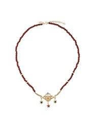 Iosselliani Puro Satyr Red Agate Necklace Gold Plated Sterling Silver Metallic