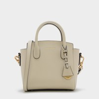 Charles And Keith Trapeze Tote Bag Ivory