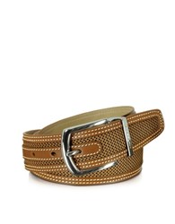 Moreschi St. Barth Tan Perforated Nabuk And Leather Belt