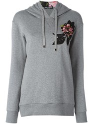 Dolce And Gabbana Embroidered Applique Rose Hoodie Grey