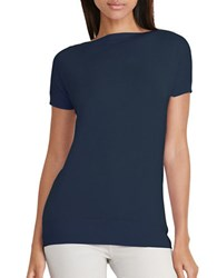 Lauren Ralph Lauren Petite Slim Fit Silk Blend Sweater Navy