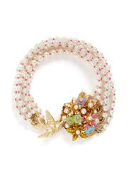 Miriam Haskell Bird Bouquet Multi Strand Glass Pearl Bracelet White Multi Colour