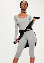 Missguided Grey Scoop Neck Cropped Unitard Jumpsuit