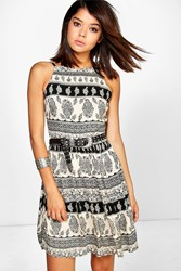 Boohoo Printed Summer Dress Black