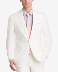 Bar Iii Men's Slim Fit Stretch White Solid Suit Jacket Created For Macy's