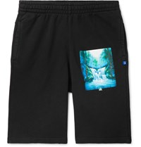 Off White Printed Loopback Cotton Jersey Drawstring Shorts Black