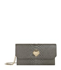 Elie Saab Metallic Snake Clutch Female Grey