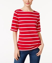 Karen Scott Striped Boat Neck Top Only At Macy's New Red Amore