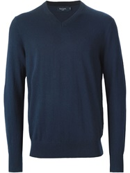 Paul Smith Jeans V Neck Sweater Blue
