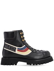 Gucci 15Mm Leather Lace Up Army Boots Black
